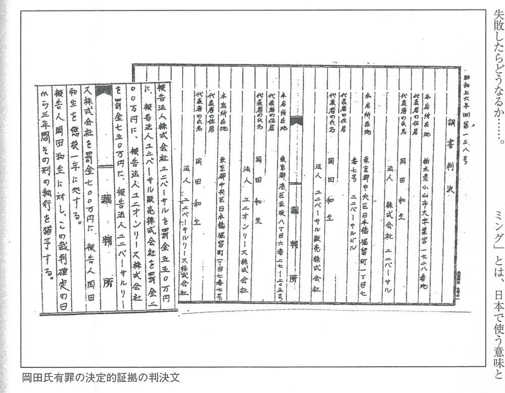 岡田和生氏に有罪判決を下した旨つづった公文書